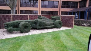 Topiary of full size F1 car at the Williams factory in Wantage, Oxfordshire.