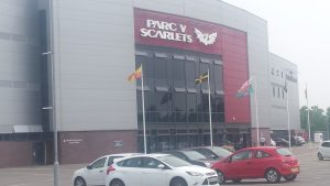 Cargo being delivered to Parc y Scarlets Rugby stadium.